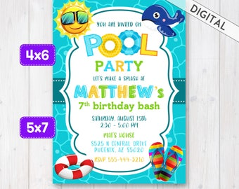 Swimming Pool Party Invitation, Pool Party Invite, Boy pool birthday invitation, Pool Invitation, Boy swimming pool birthday party invite