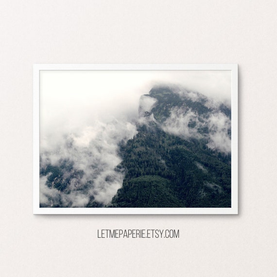Forest photography, mountain print, forest printable, nature wall art, forest print, nature print, trees, nature art, forest photo, foggy