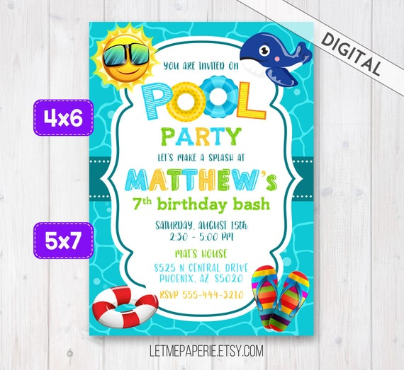 Swimming Pool Party Invitation Pool Party Invite Boy pool – Pool Birthday Party Invitation