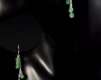 Natural aventurine earrings with sterling silver.