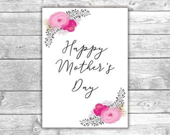 DIGITAL FILE - Happy Mother's Day Card - Mom Day Card 3, Love, Pink Flowers, Floral Design