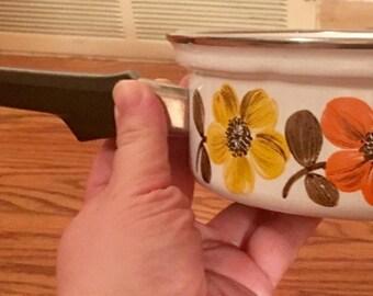 Hippie Floral Vintage 1960's Mod Mid Century Enamel Austria Made Sauce Pan