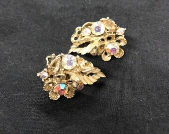 Vintage Lisner Rhinestone Clip On Earrings