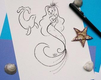 Inktober Mermie Friends Original Drawing