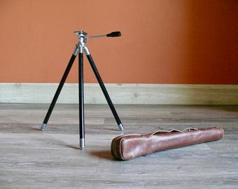 Retro Metal Brass Telescopic Photography Tripod, Camera Accessory, Original Leather Case, Industrial Lamp Base, Vintage Photo Equipment