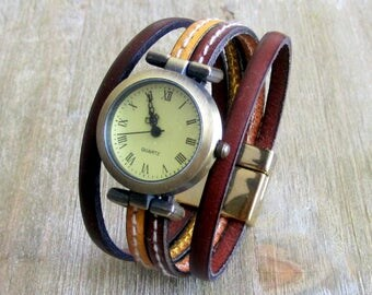 Wrist watch leather brown yellow mustard with sewing, dial Bronze plating gold 20MM clasp