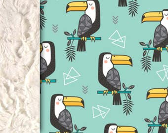 Toucan blanket Baby Minky Blanket mint blanket, neutral gender throw blanket, baby shower gift, jungle animal, birth gift, adult size
