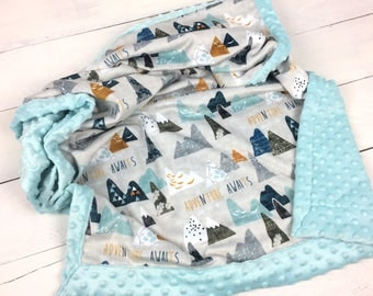 Baby minky blanket, adventure awaits blanket,  neutral gender blanket,  mountains blanket, adult cuddle blanket, baby shower gift, birth