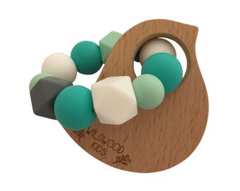 Bird Teething ring with turquoise mix