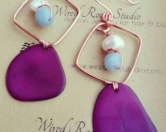 Amazonite freshwater pearls and tagua nut hoop earrings, gold hoops and tagua nut earrings, unique earrings,  Eco- friendly earrings, gifts