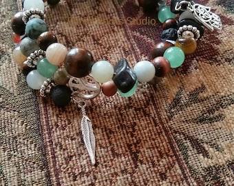 Boho memory wire bracelet, multistrand memory wire wrap bracelet, boho wrap bracelet, unisex memory wire bracelet, one of a kind