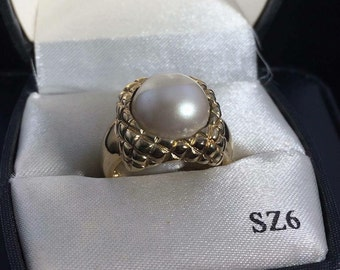 Vintage Sterling Silver Genuine Pearl Ring size 8