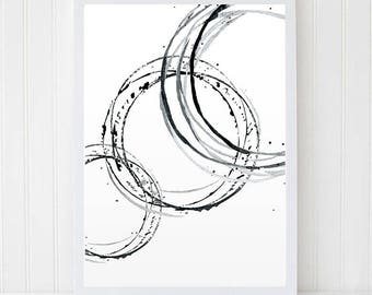 Brush Lines print. Abstract art. Watercolor line print. Contemporary Art. Black&White Decor. Minimalism.  Modern Art. Watercolor set.