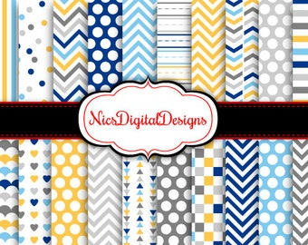 Buy 2 Get 1 Free-20 Digital Papers.  5 Tone Patterns in Hanukkah Colours (2H no 3) for Personal Use and Small Commercial Use scrapbooking