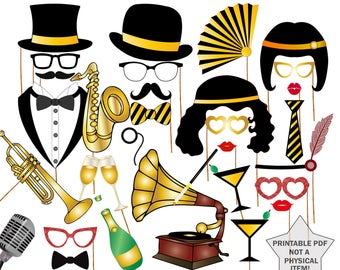 """20s Party Photo Booth Props: """"GATSBY PHOTO PROPS"""" Roaring 20s party photobooth,Great Gatsby Party props,1920 Great Gatsby props,Jazz props"""