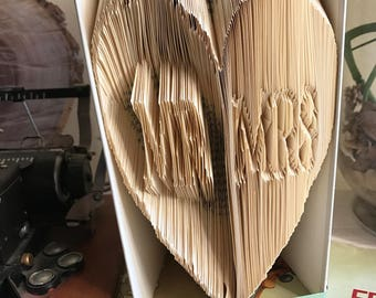 Book art with the word Mr and Mrs inside a big heart, anniversary gift, wedding gift, decorated book, gift idea for him, gift idea for her