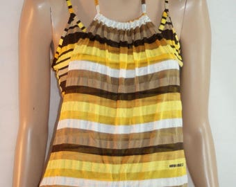 Summer Top, Yellow Striped Top, Tank, Cami, Halter Neck Crop Top, Shoulder Straps, Stretched, Size S, MISS SIXTY, Top Doppio Righe Giallo