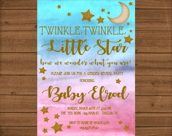 Gender Reveal Invitation, Twinkle Twinkle Little Star Gender Reveal, Gender Reveal Party, Twinkle Twinkle Little Star, Blue and Pink