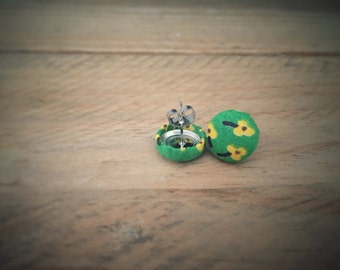 Yellow Flowers. Floral Fabric. Vintage Fabric. Handmade Earrings. Fabric Button Earrings. Gifts For Her. Stud Earrings. Clip On Earrings..