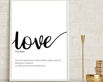 Love Definition Print, Inspirational Quote Print, Wall Art, Motivational Quote, Anniversary Gift, Monochrome Print, Home Décor, Wall Décor