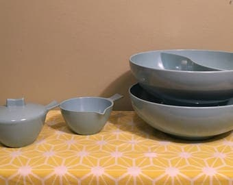 Turquoise Serving Bowls with Creamer Set