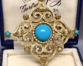 Vintage Turquoise Brooch, Vintage Brooch, Vintage Shawl Pin, Ornate Vintage Brooch, Gold Turquoise Brooch, Gold Vintage Brooch, Gold Pin