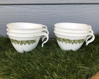 Vintage Corelle by Corning, 1970's Vintage Corning Tea Cups, 1970's Vintage Stacking Tea Cups, Vintage Corning Ware