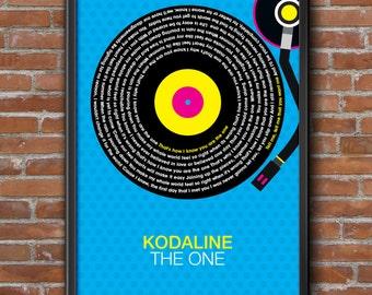 Kodaline - The One Song Lyrics Wall Art Poster Print.