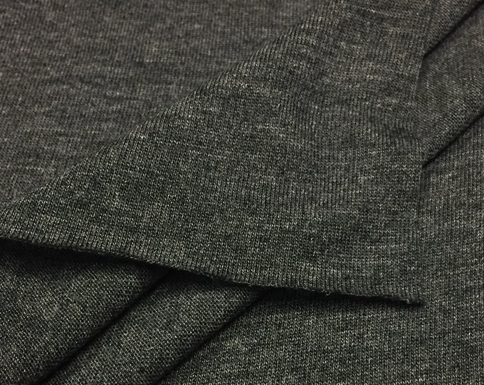 100% Modal Jersey T-shirt Fabric (Wholesale Price Available by the Bolt) - 2530H65- Charcoal- USA Made Premium Quality- 1 Yard