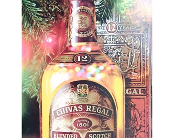 Christmas Vintage Liquor, 8 Ads Gift Pack, ca. 1970s 1980s • Bartenders Gift Pack • Chivas, Beefeater, Canada, Skiing, Holiday, Winter, Snow