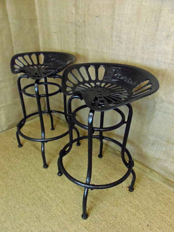 Up Cycled Tractor Seat Bar Stool Swivel Mechanism Black