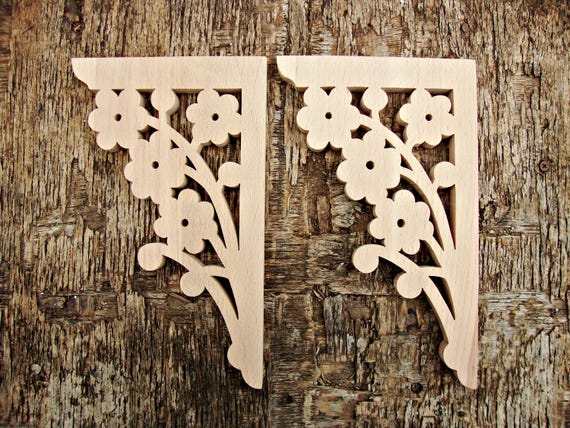 Farmhouse Decor Victorian Wooden Corbel Brackets Wood