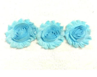 "Sky Blue Gorgeous Shabby Frayed Chiffon Flower Rosettes 3 x 2.5"", hair bands, clips, crafts etc"