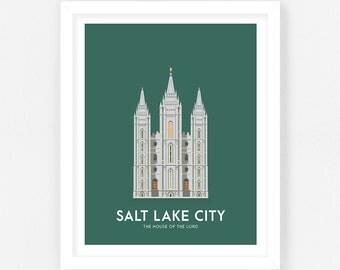 Salt Lake LDS Temple Print    Wedding Gift    Anniversary Gift    Christmas Gift