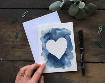 Abstract Heart Card, Stationery, Birthday Day Card, Gift for Him, Gift for Her, Blank Note Card, White & Blue, Minimal, Blank Card, Fine Art