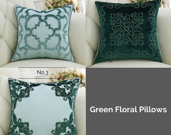 "Luxury Green Classical Embroidered Floral Pillow Cover 20""X20"""