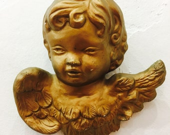 SALE The most adorable Plaster chippy cherub Gold