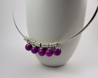 Purple gemstone silver collar necklace. Interchangeable necklace collar. Magnesite charm necklace.