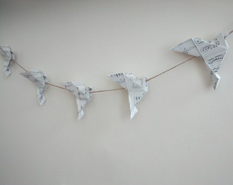 Song Bird Paper Origami Bunting/Garland. Handmade from vintage sheet music and natural jute twine.