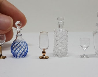 3 Set Glass and Bottle Vintage Style with Cabinet Wood for Dollhouse Miniature