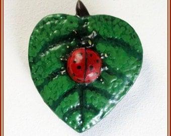 Ladybug handmade brooch, hand painted lady bug, enamel pin ladybug, gift for girl, insect brooch pin, sheet brooch, sheet ladybug brooches.