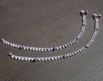 Ethnic anklet | Boho gypsy anklets | Birthday gift jewelry | Indian payal jewelry | Silver plated anklet | Gift jewelry for mother | A151