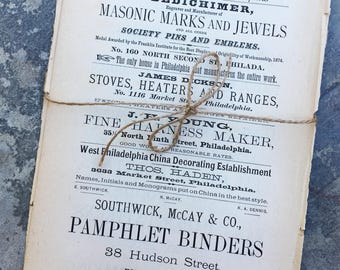 Vintage Ephemera 1876 Ads for Collage and Art Journals