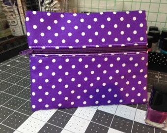 Purple with white Polka Dots-Double Zipper Pouch and Clear Zippered Pouch