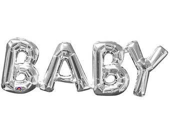 Silver Baby Shower Balloon Party Decoration! FREE POSTAGE - Cute Baby Shower Balloon Decoration 66cm x 22cm.