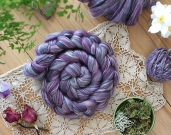 NZ merino and silk blend-22 micron, JUNIPER, 3.5 oz (100 grams) of luxurious soft fiber for spinning, felting or fiber art.