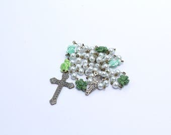Hand-Made Catholic Rosary - Turtles and Pearls