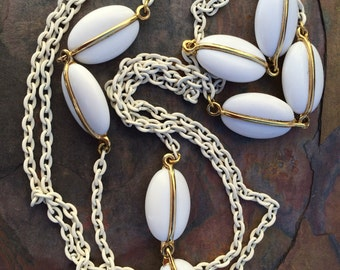 Vintage white lucite chain necklace-long strand necklace