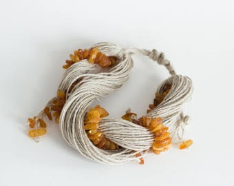 Twisted Linen Bracelet with Baltic Amber