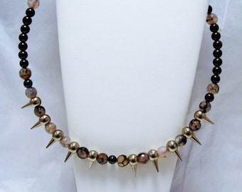 Hematite and Snakeskin Agate Beaded Spiked Necklace, Beaded Necklace, Spiked Necklace, Snakeskin Agate, Hematite, Spiked Jewelry,